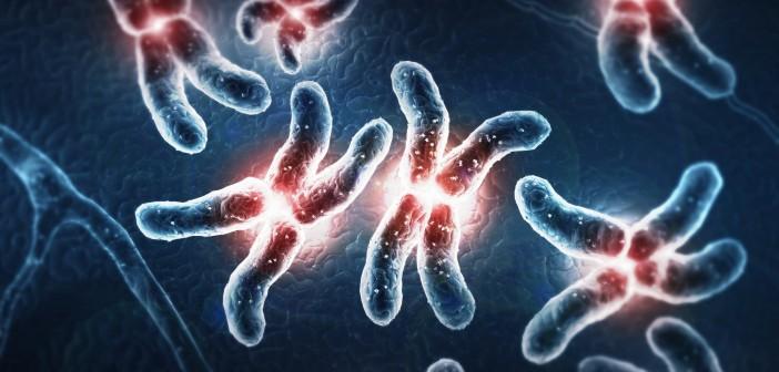 Stylized glowing chromosomes.