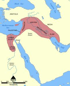 上圖:肥沃月灣(Fertile Crescent)與周邊地理示意圖。 (來源:https://commons.wikimedia.org/wiki/File:Fertile_Crescent_map.png)
