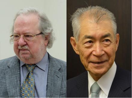 圖左為:James P. Allison in 2015。圖右為:Honjo Tasaku in 2013 。