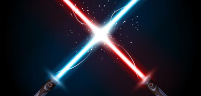 57524194 - illustration of light swords in battle on dark background