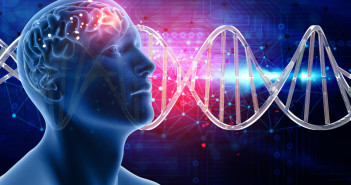 83129551 - 3d medical background with male head and brain on dna strands