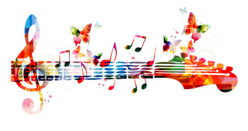 38439882 - colorful music design with butterflies
