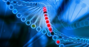 7858918 - 3d dna in color background