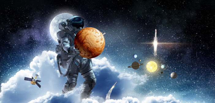 91370380 - astronaut holding in hands mars planet.