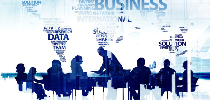 38521526 - silhouette business people discussion meeting cityscape team concept