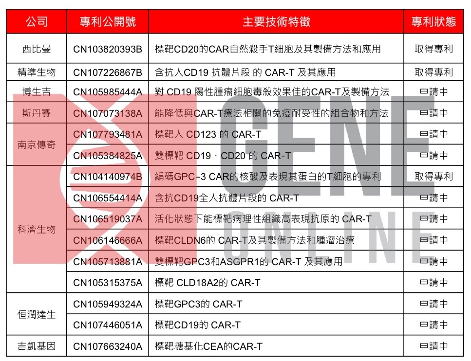 表二:中國 CAR-T 研發公司於中國申請專利。