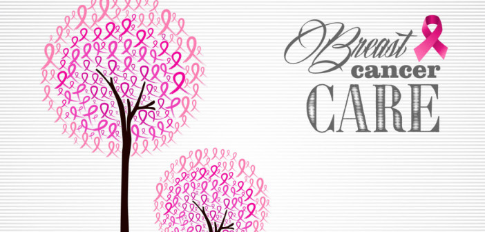 22284380 - breast cancer awareness conceptual forest with pink ribbons.
