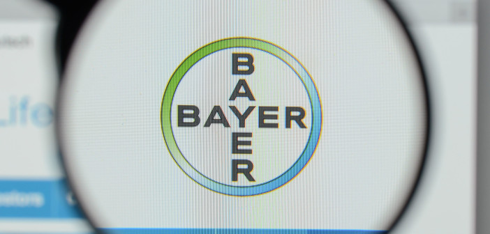 93416949 - milan, italy - august 10, 2017: bayer logo on the website homepage.