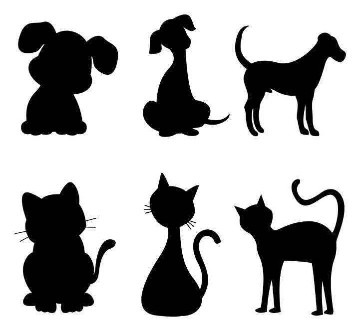 38550562 - cats and dogs silhouette black specially for pet clinic logos
