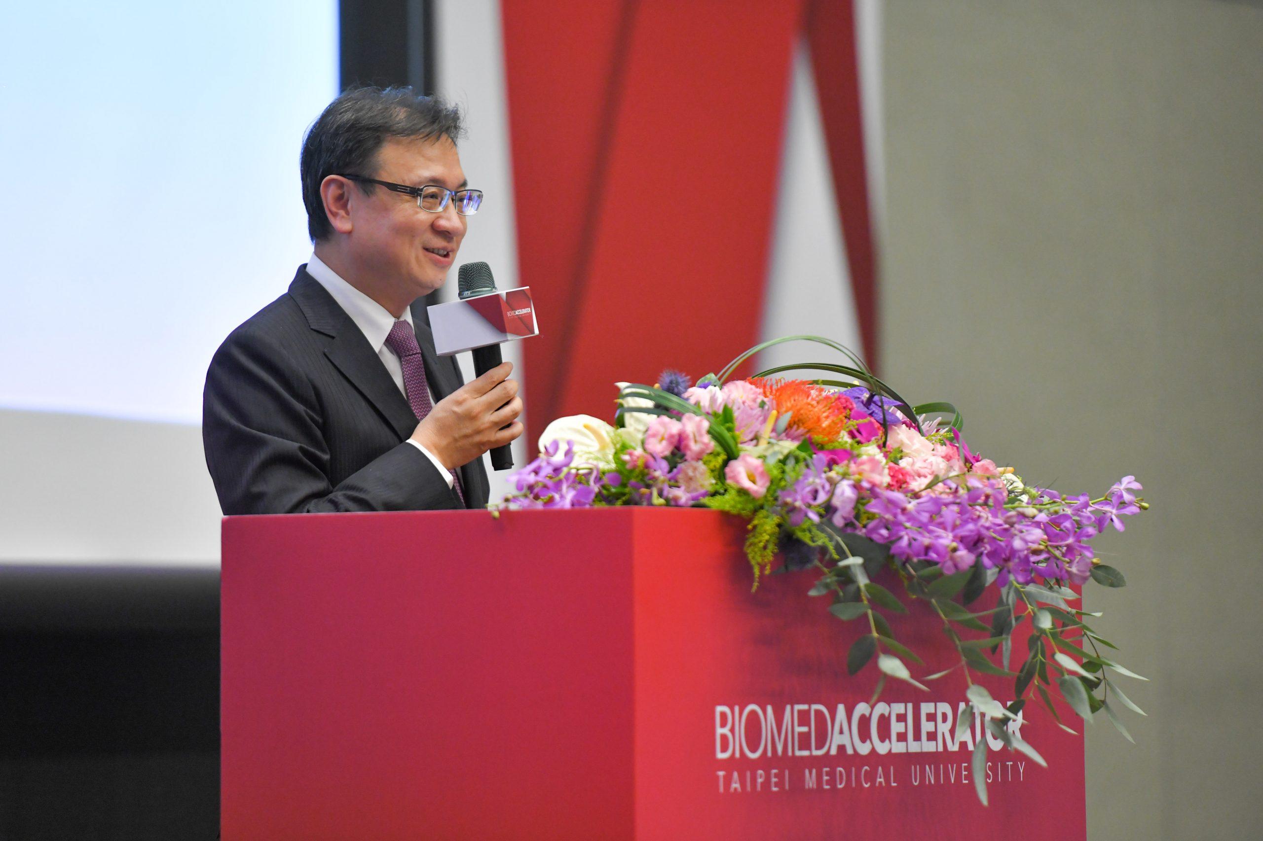 臺北醫學大學校長林建煌致詞表示著眼台灣生醫新創早期輔導,推動台灣精準健康發展主軸